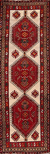 One-of-A-Kind Meshkin Tribal Geometric Hand-Knotted 3x10 Beige Wool Vintage Persian Runner Rug (10' 4