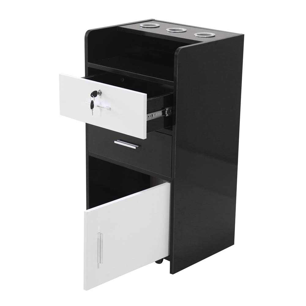 Salon Wood Rolling Drawer Cabinet Trolley Spa 3-Layer Cabinet Equipment with A Lock Black & White (Black&White) by hellowland (Image #4)