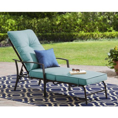Mainstays Forest Hills Cushioned Chaise Lounge, Blue