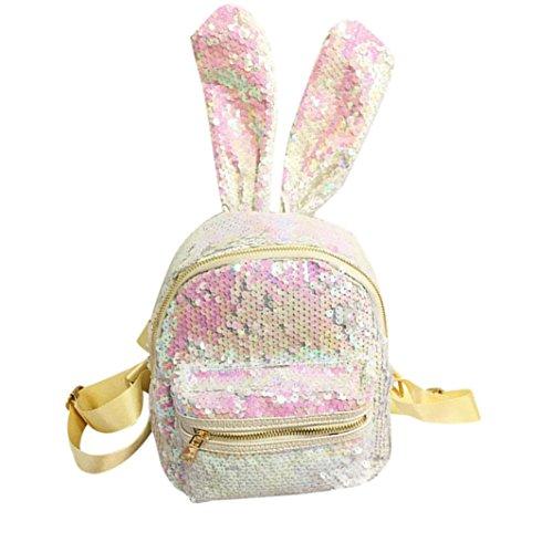 VICGREY Ragazze moda carino paillettes zaino donna casual borsa da viaggio zaino coniglio grande orecchio mini zaino Bianco