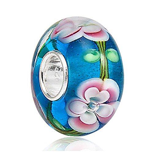 Lampwork Murano Glass Charm - 925 Sterling Silver Core - Fits European Charm Bracelet