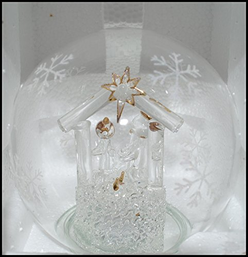 Nativity Snowglobe Scene (Handblown Color-Changing LED Glass Snowglobe Nativity Scene)