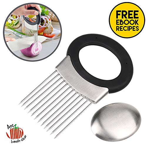 Stainless Steel Onion Holder for Slicing, Non-Slip Vegetable Potato Cutter Slicer, 12-Prong Onion Slicer Holder with Odor Remover and Food Recipes - Arc Cheese