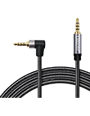 Oluote TRRS 3.5mm Audio Cable, 3.5mm Male to Male 90 Degree Audio Stereo HiFi Cable, Compatible with Car, Smartphones, Speakers, PS4 Headset, Tablet (16.4FT)