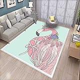 Flamingo Door Mats for Inside Cute Flamingo Flower Crown Ribbon Fairytale Children Kids Artwork Bath Mat for tub Bathroom Mat Baby Blue Pale Pink White