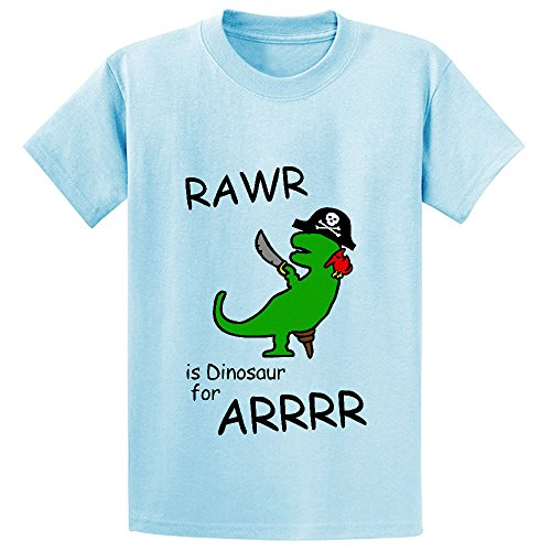 Unicorn Rawr Is Dinosaur For Arrr Pirate Youth Cotton Crew Neck Tees L-blue (Goblin Outfit)