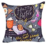 C.N. 1 Piece 18 x 18 Black Pink Harry Potter Theme Throw Pillow Cover, Purple Red The Half Blood Prince Movie Cushion Case Gryffindor Ravenclaw Hufflepuff Slytherin Hogwarts School Magic Wand, Cotton