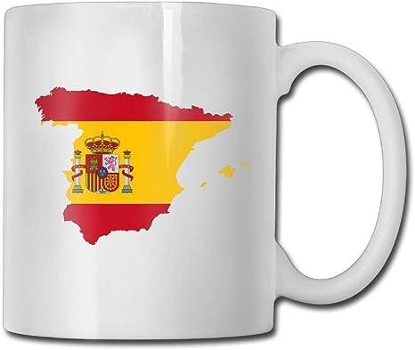 Regalo personalizado Camiseta blanca Taza de 11 oz Mapa de la bandera de España Oficina personalizada: Amazon.es: Hogar