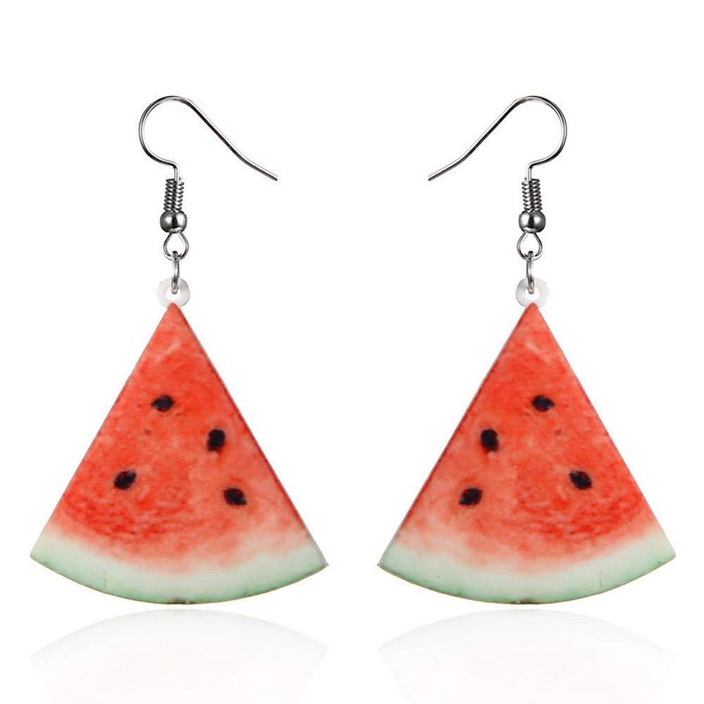 Gbell Clearance! Girls' Large Fruit Dangle Hook Earrings Charm - Acrylic Strawberry Pineapple Watermelon Kiwi Fruit Cucumber Oranges Drop Hook Earrings Women Personality Jewelry Statement (C)