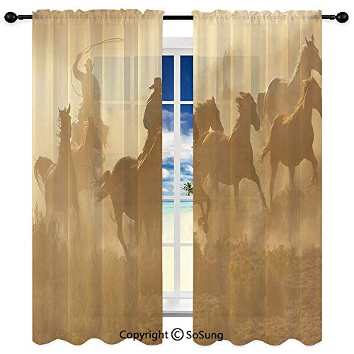 3D Printed Room Rod ket Unlined Window Curtains,Galloping Running Horses in Desert Two Cowboys Roping Dusty Wild Rural Countryside Decorative 35