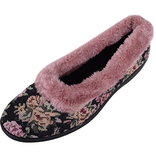 Absolute Footwear Womens Slip On Style Floral Slippers/Indoor Shoes With Warm Fur Lining Pink