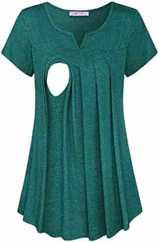 6df3ade18110f JOYMOM Maternity Summer Split V Neck Short Sleeve Breastfeeding Tunics Tops