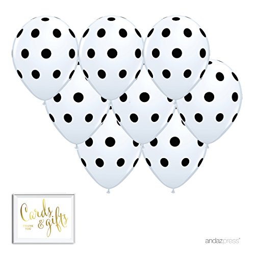 Black And White Sign (Andaz Press Printed Latex Balloon Party Kit with Gold Cards & Gifts Sign, White with Black Polka Dots, 8-Pk)