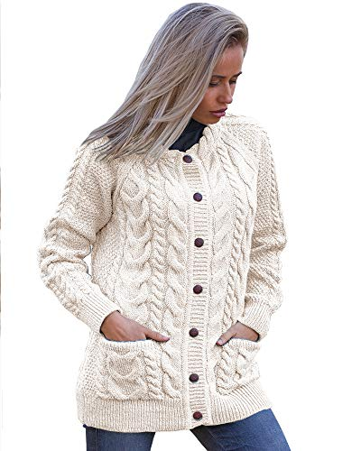 Irish Aran Knitwear | Cable Knit Lumber Cardigan J024 | 100% Merino Wool (Natural, Large) (Cardigan Wool Irish Sweater)