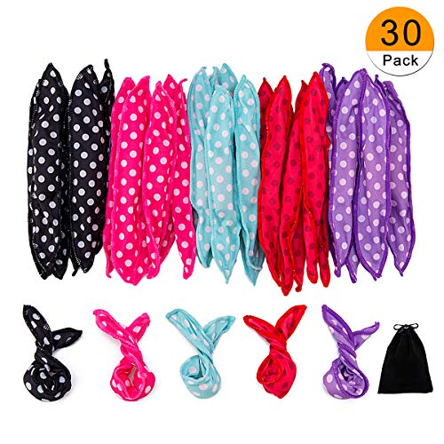 (30 Pieces Hair Curler Rollers DIY Night Sleep Foam Hair Styling Tools Flexible Soft Sponge Pillow Hair Rollers With Storage Bag (5 Colors))