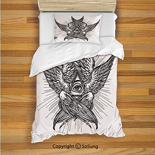 (Eye Kids Duvet Cover Set Twin Size, All Seeing Eye of Providence Hand Drawn Vintage Style Winged Angel Seraphim Inspired Decorative 2 Piece Bedding Set with 1 Pillow Sham,Black)