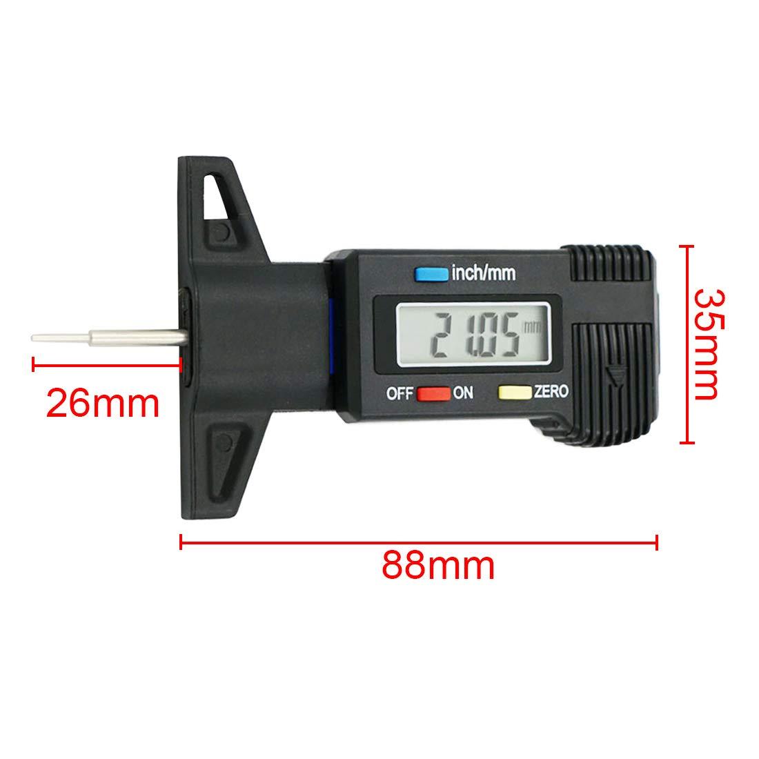 Digital Depth Gauge 0-25.4mm LCD Caliper Tread Depth Gauge for Car Tire Measurer Tool Caliper