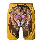loejrfw Men's Cool Smoking Lion with Sunglasses Boardshort Beach Shorts Swimming Trunks X-Large