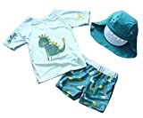 Baby Boys Two Pieces Dinosaur Rash Guard Sun Protection Bathing Suit With Hat Size 1-2T/Tag90 (Green)