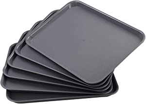 Readsky 6 Pack Plastic Serving Tray, Fast Food Plastic Trays, Deep Gray