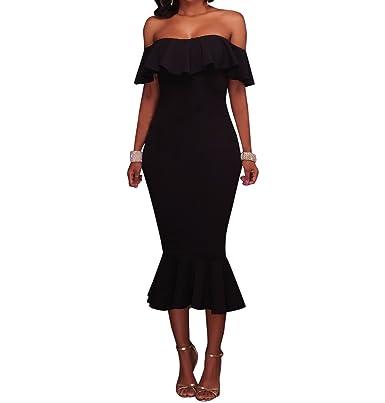 Damen Schulterfrei Kleider Elegant Ruffle Bodycon Mermaid Midi Kleid ...