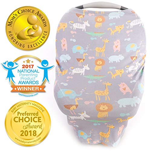 Stretchy Car Seat Covers for Babies, Nursing Cover for Breastfeeding, Nursing Scarf Carseat Canopy Breastfeeding Cover - Breast Feeding Cover ups for Boys or Girls During Summer or Winter - Jungle