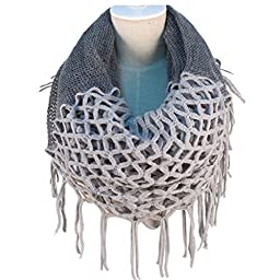 NOVAWO Fashion Women Winter Warm Knit Long Scarf with Tassels , Two Styles Infinity and Straight 7 Colors (Grey)