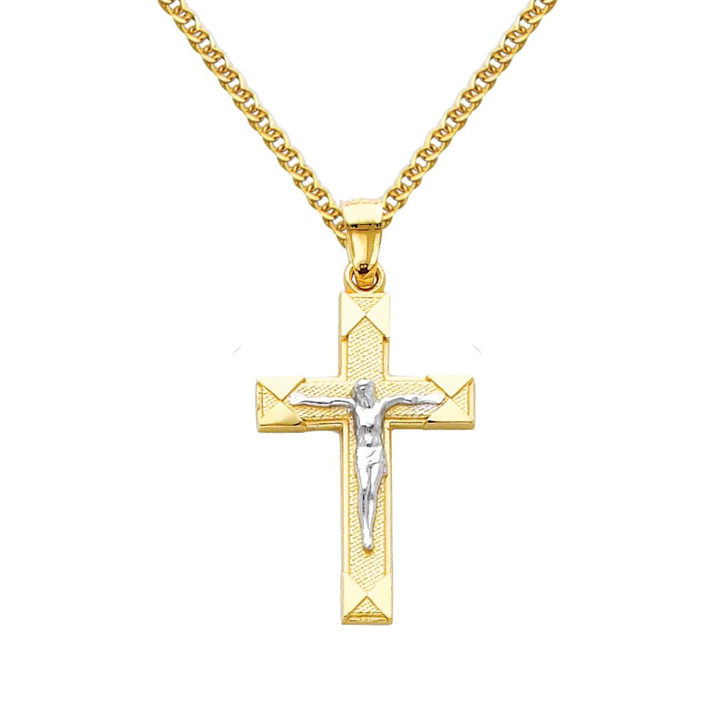 14k Two Tone Gold Jesus Cross Religious Pendant with 1.5mm Flat Open Wheat Chain Necklace - 22''