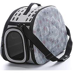 Soft Sided Pet Carrier Foldable EVA Pet Carrier Puppy Dog Cat Outdoor Travel Shoulder Bag for Small Dog Pets Soft Dog Kennel Pet Carrier Bag Pattern 8 M Gray