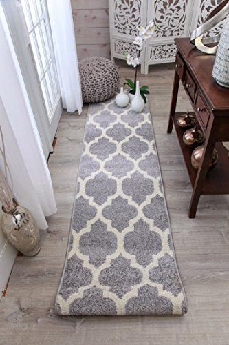 Gray Moroccan Trellis 2'0x7'6 Area Rug Carpet Large, 2x8 Runners Rugs