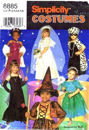 Simplicity 8885 Sewing Pattern Girls Costumes Dress Up Witch Fairy Movie Star Size 3 - 8]()