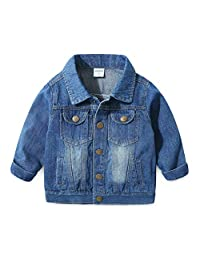 ARAUS Denim Jacket Baby Boys Long Sleeve Button Down Lapel Casual Girls Jean Coat Outerwear Outfits for 0-8 Years