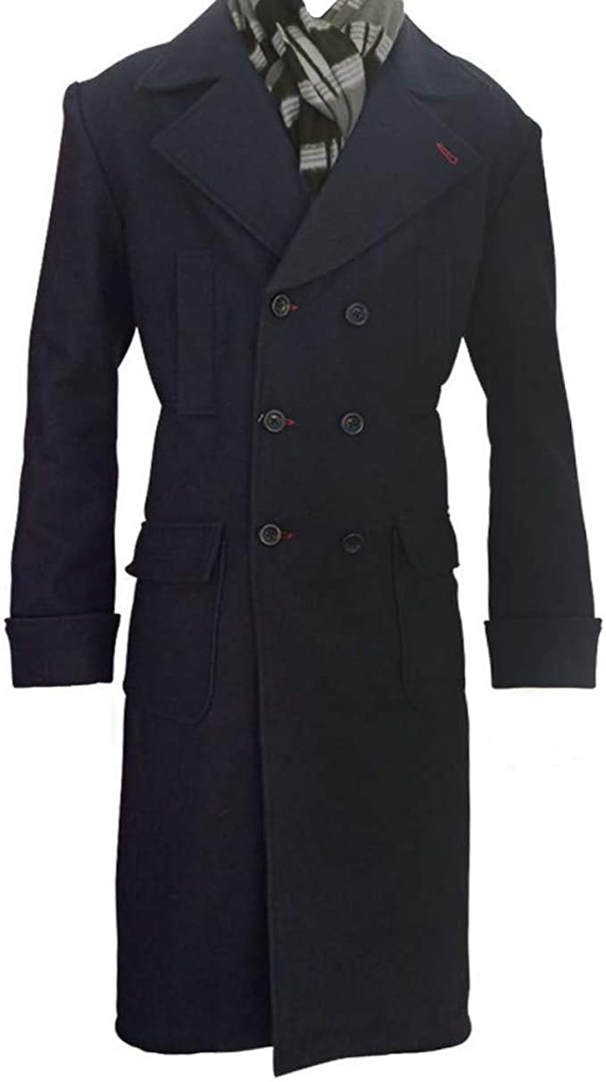 Classic Outfitters Sherlock Holmes Benedict Cumberbatch Wool Long Trench Coat Jacket Black
