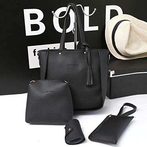 Daypack Black Classic Travel Bags 4 Messenger Women's Outsta Pieces Basic Casual Shoulder Tote Handbag Black Set Backpack Crossbody Wallet Four Bag Aqqw4UH