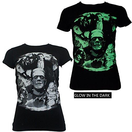 Universal Monsters Collage Juniors Dracula Bride Glow T-Shirt (Collage Juniors T-shirt)