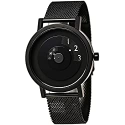 Projects 7203BM-40 Men's Reveal Classic Black Dial Black IP Steel Mesh Bracelet Watch