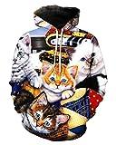 Takra Gold Hoodie Sweater Unisex Cute Cat Print Pullover Sweatshirt Hip Hop Hoody