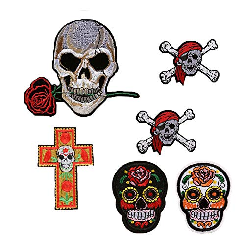 (SOUTHYU 6 Pack Iron On/Sew On Patches Punk Decorative Motif Appliques Embroidered Skull and Bone with Rose Pirate Repairing Badge for DIY Clothing Jeans Jacket Backpack)