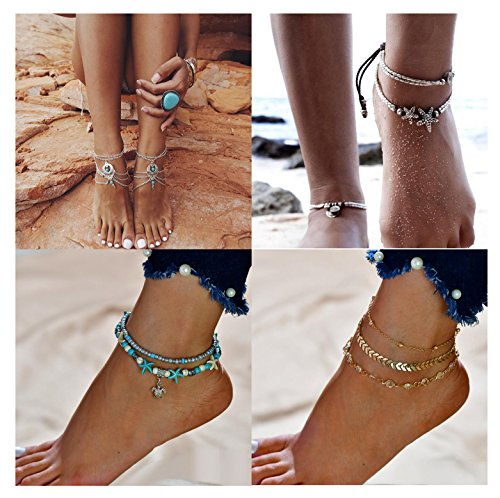 MarJunSep 4 Pairs Starfish Ankle Bracelet Barefoot Sandals Beach Vintage Boho Antique Beaded Anklets Foot Jewelry (A PACK) Wrap Bracelet Anklet
