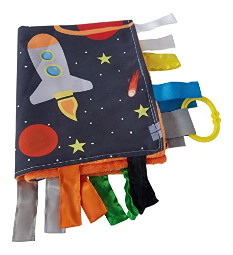 Outer Space Lovey with Rocket Ships and Stars Educational Sensory Blanket Lovey with Ribbon Tabs by Baby Jack 14x18