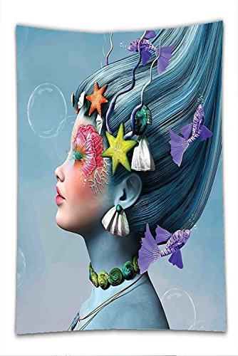 Nalahome Fleece Throw Blanket Mermaid Woman with Underwater Themed Make Up Hairstyle Starfishes Seashells Fishes Bubbles - Hairstyles Faces Best Thin For