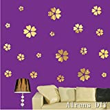 Alrens_DIY(TM) 20pcs Petals=5 Flowers Mirror Surface Crystal Wall Stickers DIY Acrylic 3D Home Decal Living Room Murals Wall Paper Decor adesivo de parede-4 Colors (2XL, Gold)
