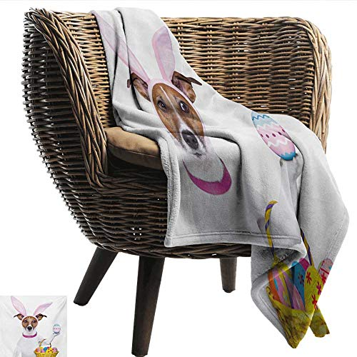 Anshesix Reversible Blanket Easter Dog Dressed up as Easter Bunny Holding a Basket of Eggs Funny Animal Illustration Print Summer Quilt Comforter W54 xL84 Sofa,Picnic,Camping,Beach,Everyday use