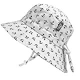 JAN & JUL Children's Foldable Summer Sunhat 50 UPF, Drawstring Adjustable, Stay-on Chin Strap (L: 2-5Y, Anchor)