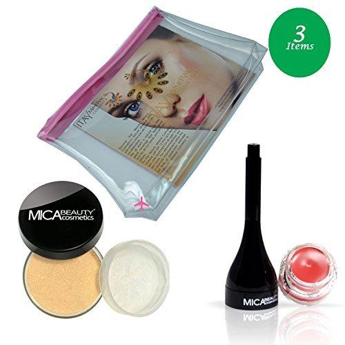 (Bundle of 3 Items) MicaBeauty Full Size Foundation MF7 Lady Godiva+Tinted Lip Balm+Airplane Travel Cosmetic Bag (08 Big Apple)