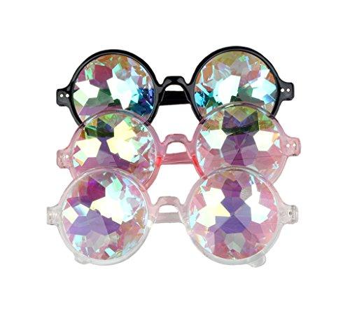 OMG_Shop Kaleidoscope Glasses Rainbow Crystal Lenses Multicolor Fractal Prism For Rave Festival EDM Light Show