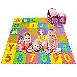 Jasonwell Tapete para Bebe Multiusos 36 Piezas Tapete Foamy Foami para Bebe Niños Impermeable Puzzle Play Mat de Juego Alfombra para Niña con ABC Letras Y Numeros 0 al 9 192 x 192 cm