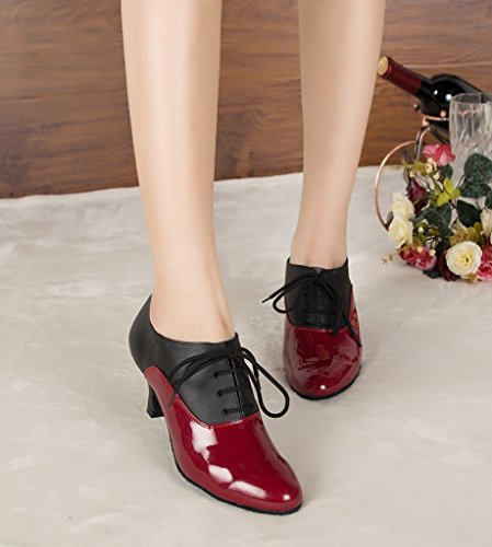 Lace Red Dance up US M Shoes Miyoopark 8 Leather Women's Comfortable AqCwExRx6