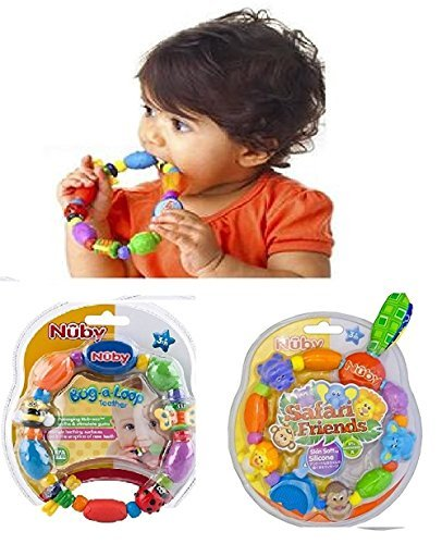 Set of 2: Nuby Bug-a-Loop Teether & Nuby Safari Friends Baby Teether - BPA FREE