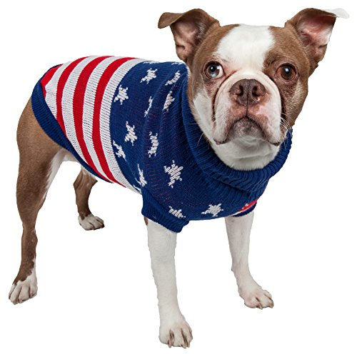 (PET LIFE 'Patriot Independence Star' Heavy Knitted Fashion Designer Ribbed Turtle Neck Pet Dog Sweater, X-Small, Red, Beige and Blue)